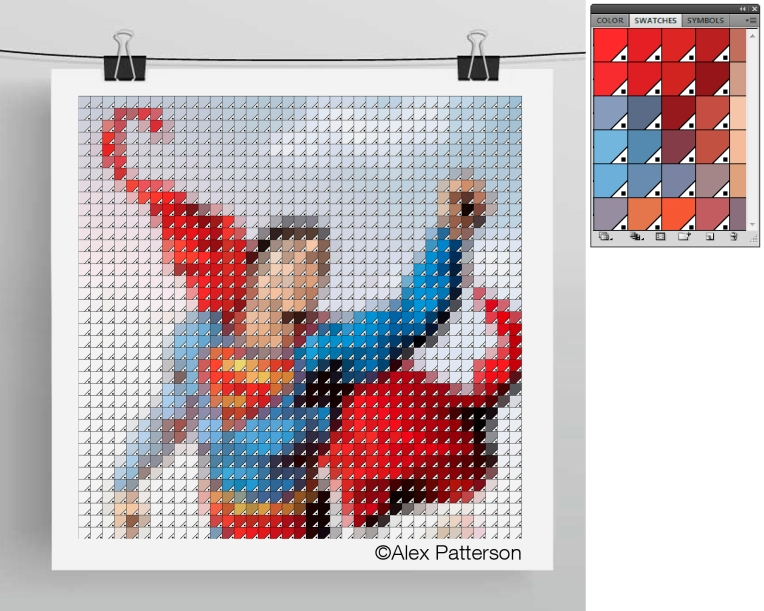 superman pantone swatch art