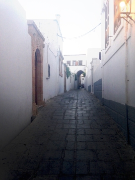 One of the many winding, cobbled Lindos streets