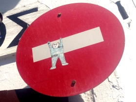 Hang on in there, No Entry Bear
