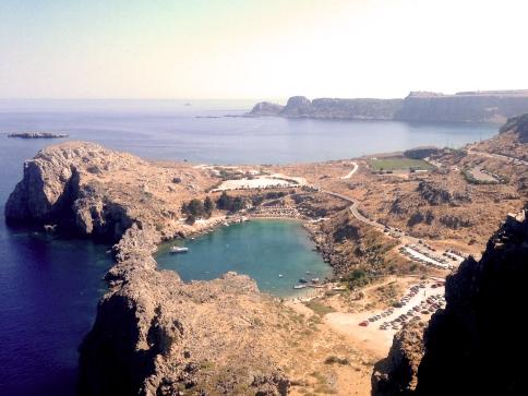 Volcanically created bay
