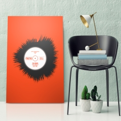 Close up hipster corner, mock up poster, 3d illustration