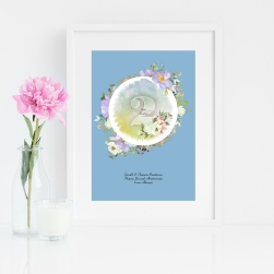 Floral Sound Wave Art - white Frame