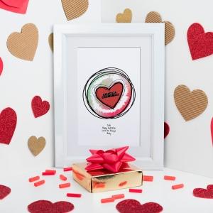 Valentine Heart Sketch Sound Wave Art in frame