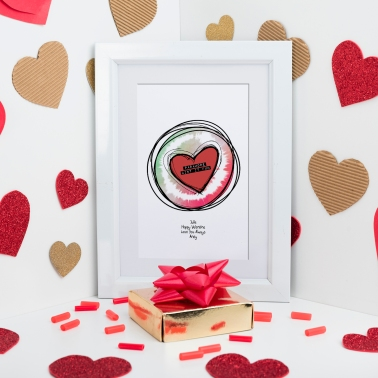 Valentine Heart Sketch Sound Wave Art in frame