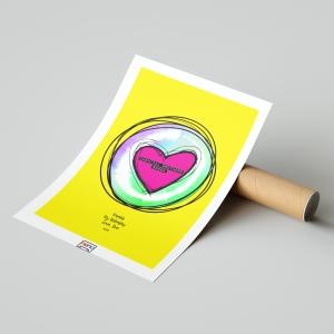 Valentine Heart Sketch Sound Wave Art print